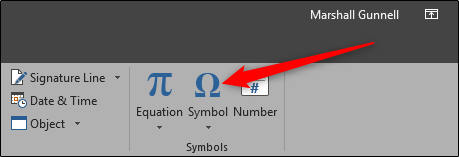 Insert Symbol under Function Tab