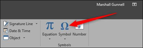 Insert Symbol under Function Tab