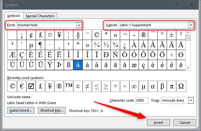 Inserting Symbols using Insert Function