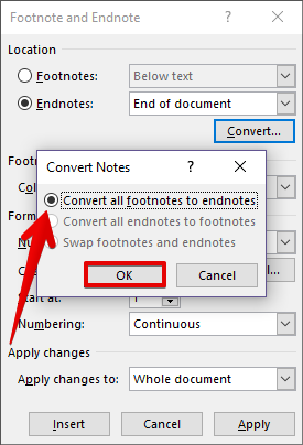 how to change endnotes to numbers in word