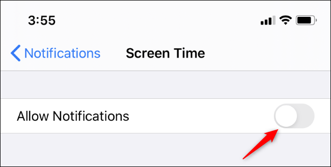 Disabling Screen Time notifications on an iPhone or iPad