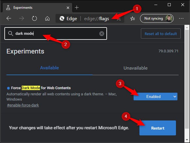 Forcing dark mode on websites in Microsoft Edge.
