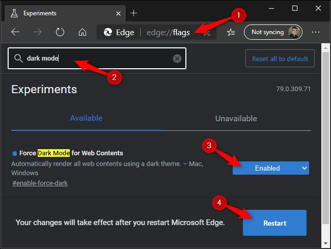 Forcing dark mode on websites in Microsoft Edge.