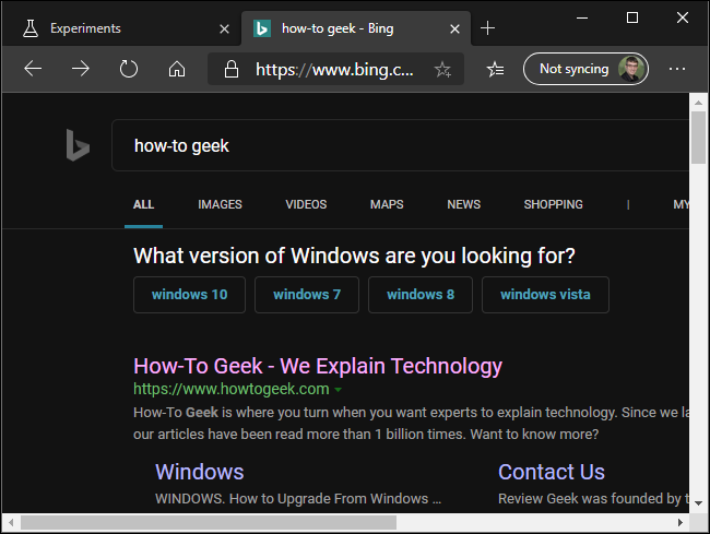 Forcing dark mode on Bing in Microsoft's new Edge browser.