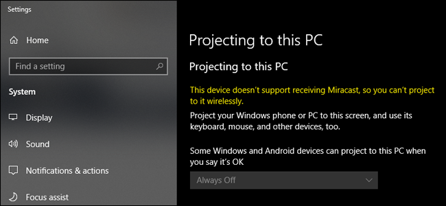 your device doesnt support miracast