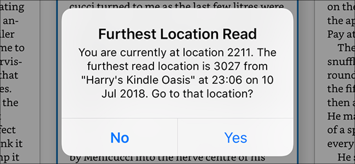 """A """"Furthest Location Read"""" pop-up message in the Kindle app"""