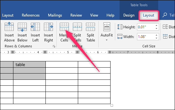 how to delete cells in a table in word