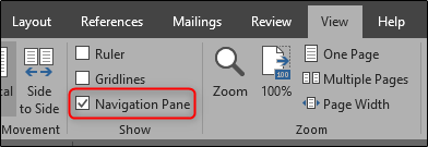 Open Navigation Pane in Microsoft Word