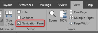 Open Navigation Pane in Microsoft Word
