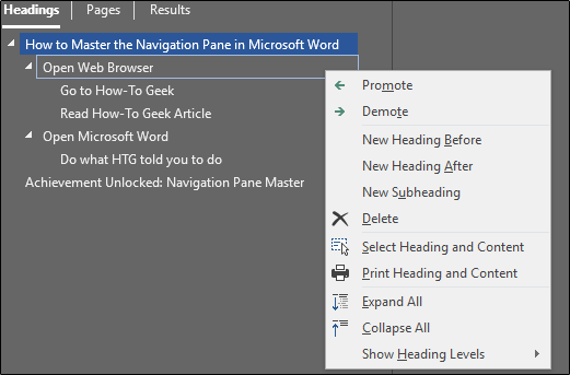 Reorganize headings in Microsoft Word