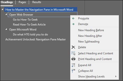 Reorganize headings in Microsoft Word