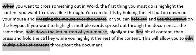 Strikethrough Words in Microsoft Word