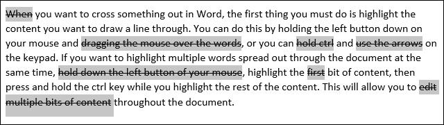 Strikethrough Words in Microsoft Word