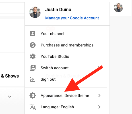 """Choose """"Appearance: Device Theme"""" from the context menu"""