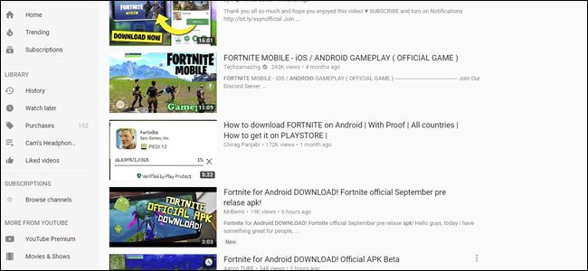 fake fortnite, youtube, fortnite, fortnite for android,
