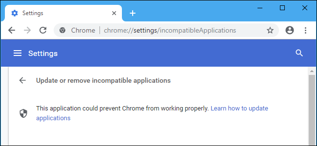 Why is Chrome Telling Me to \u201cUpdate or Remove Incompatible