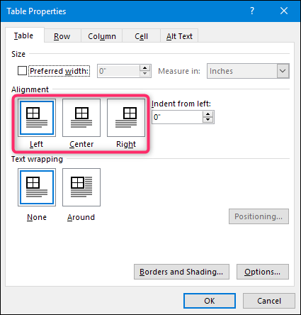 how to align a table horizontally in microsoft word