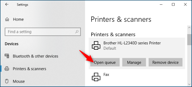 how to open printer jobs windows 10