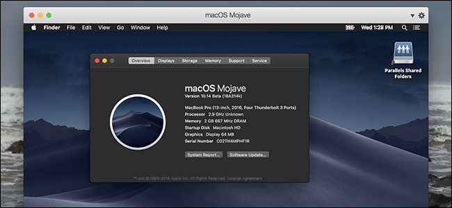 MacOs Mojave Overview details on a Mac.