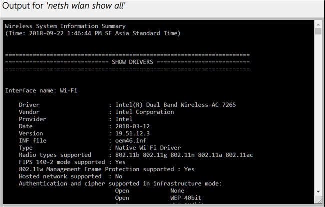 netsh wlan show drivers win 10