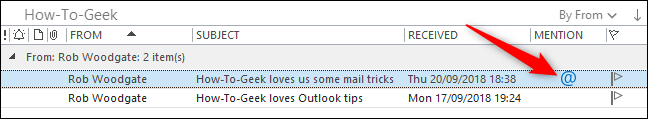 What's the Mention Column for in Microsoft Outlook?