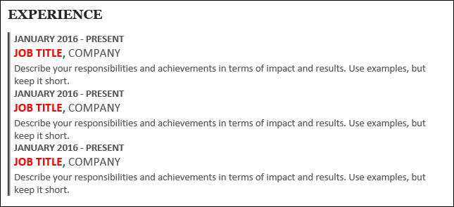 Completed experience section on resume
