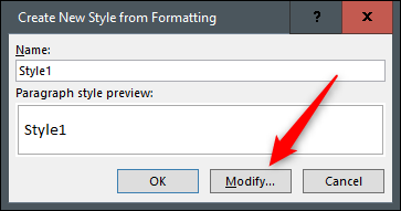 Create new style from formatting