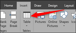 Insert table in Word