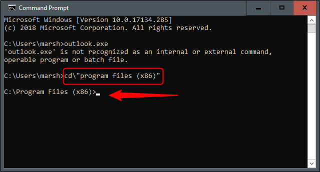 Program Files in Command Prompt