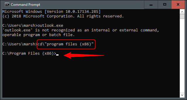 Program Files in Command Prompt
