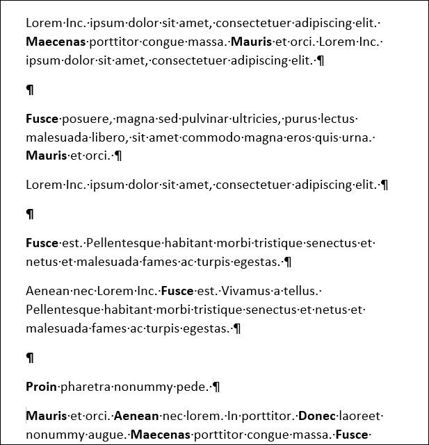 documento de Word que muestra marcas de párrafo adicionales entre párrafos