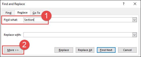 """escriba """"sección"""" en el cuadro de búsqueda y luego haga clic en más"""