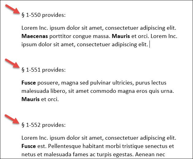 documento de Word que muestra caracteres de sección
