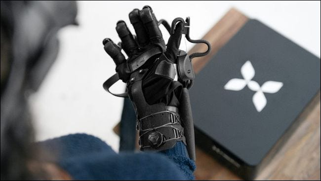 The HaptX VR arm in use