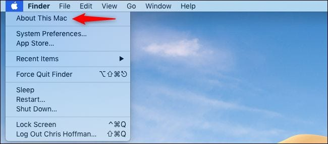 Opening About This Mac from the Mac's menu bar.