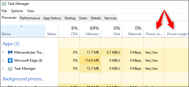 How to See Power Usage in Windows 10's Task Manager