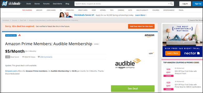 slickdeals, audible, amazon, credits, discount