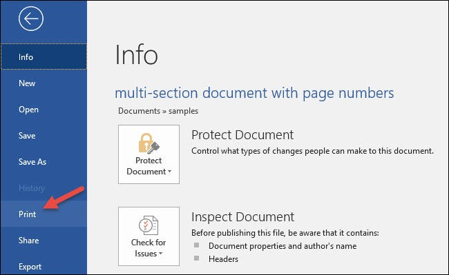 How to Print a Range of Pages in a Multi-Section Word Document