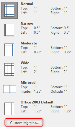 Custom Margins in Word