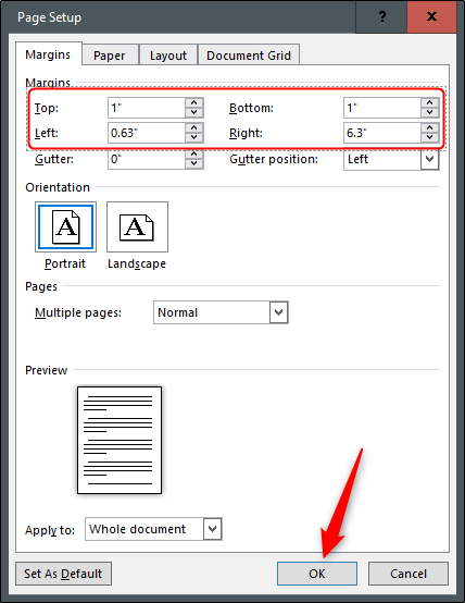 Setting custom Margins in Word