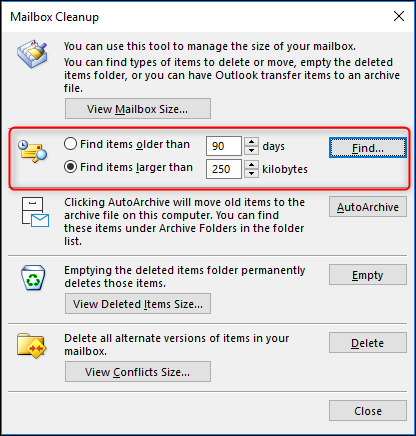How to Use Mailbox Cleanup to Purge Your Outlook Folders of