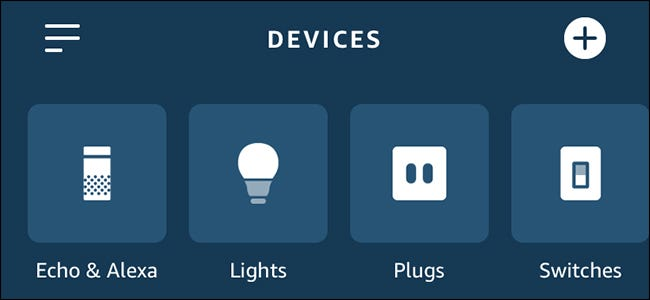 Alexa app showing lights, plugs, and switches.