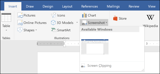 d4c969c6e64e You can click one of the thumbnails to have a screenshot of that window  immediately inserted into your document. You can then position that image  like you ...