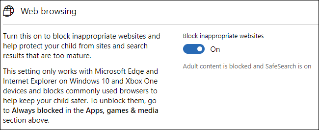 block inappropriate websites on windows 10