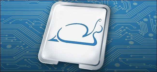 A snail superimposed over a CPU, demonstrating Spectre slowdowns