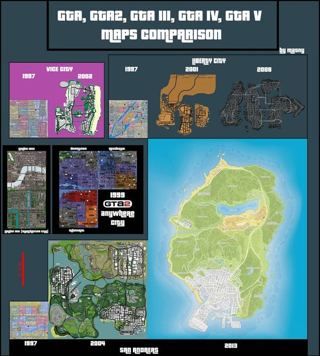 gta, game map, game size, gtaiii, gtav, san andreas,