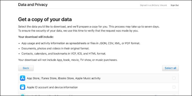 Apple now lets U.S. customers download Apple ID account data