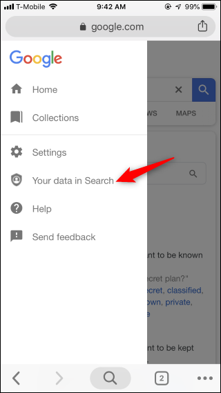 how to delete your searches on google