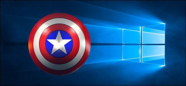 Captain America shield over a Windows 10 desktop background