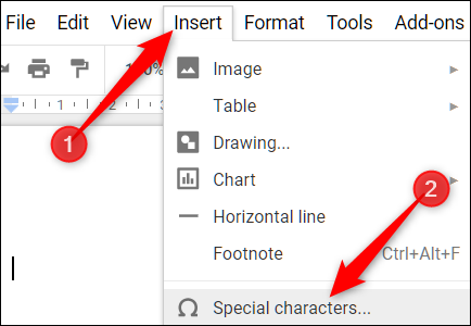 """Click """"Insert"""" and then click """"Special Characters."""""""